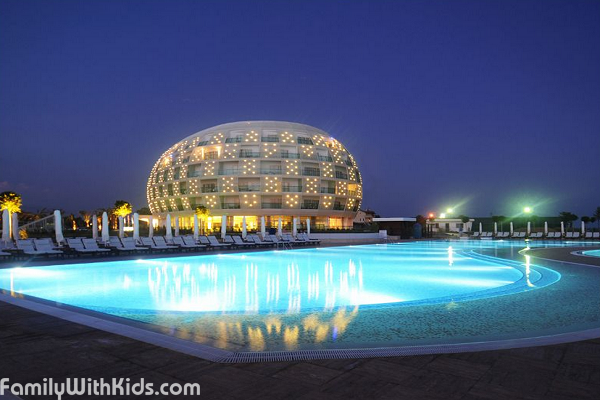 The Sentido Gold Island hotel with unusual architecture not far from Alanya, Turkey