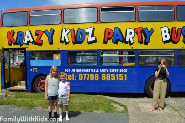 Krazy kidz party bus, organisation of bus parties for children in London, UK